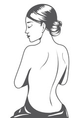 Outline beautiful woman cartoon back view