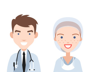 Smiling doctor and nurse.