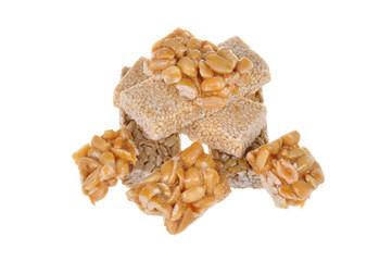 Kozinaki, nuts isolated on white