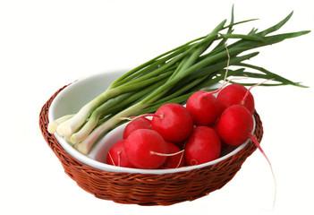 radish onion on a white plate