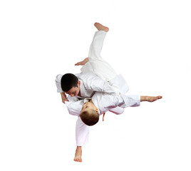 High throw judo are doing athletes isolated