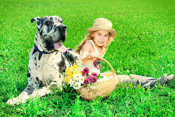 girl with mastiff