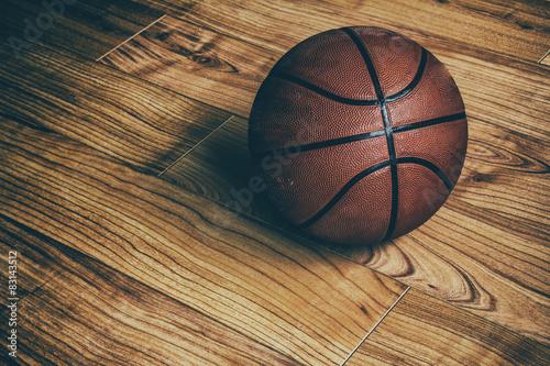 Fotobehang Basketbal Basketball on Hardwood 1