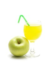 Glass of green apple juice isolated on white background