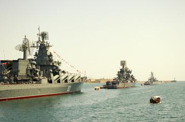 Parade military marine sea fleet of Russia