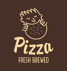 logo man eating pizza