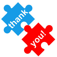 Icono texto thank you! en puzzle