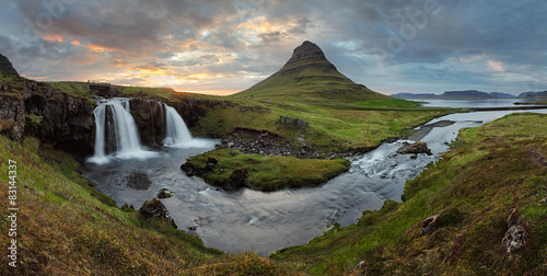 Staande foto Scandinavië Iceland landscape with volcano and waterfall