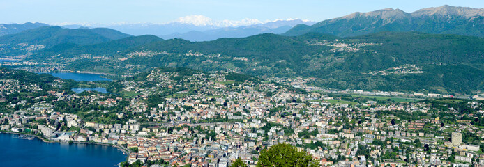 Panorama of the Gulf of Lugano from Mount Bre