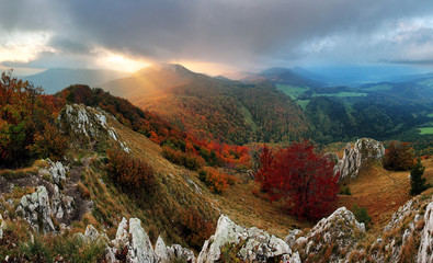 Rock and forest at autumn in Slovakia