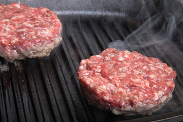 Fresh meat cutlets in a frying pan grill