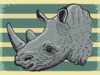 vintage background with rhino