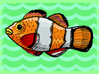 vintage background with fish