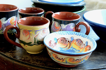 Traditional Pottery. Hand Made Cups and Bowls