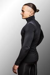 Male in black sportswear