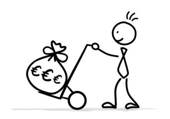 Strichmännchen Sackkarre Geld