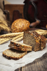 Delicious homemade bread with whole grains and black cumin