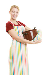 housewife or chef kitchen apron with pot of soup and ladle