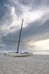 Catamarans on a Cuban Beach at Sunset