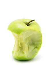 bitten green apple isolated on white