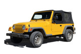 Yellow jeep isolated on white