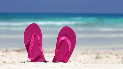 Pink flip flops on white sandy beach near sea waves