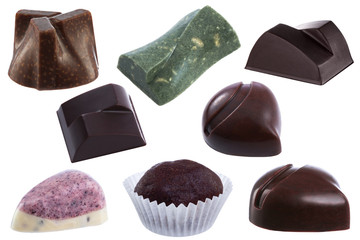Handmade chocolate candies collection isolated on white