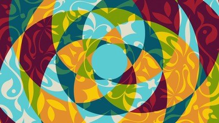 Colored animation with rotating floral decorative patterns