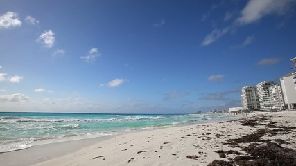 Caribbean sandy beach with turquoise water