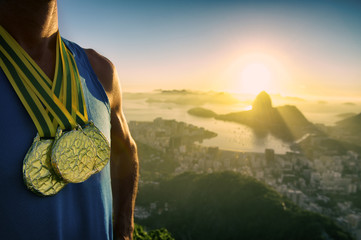 Gold Medal Champion Athlete Standing Rio Sunrise Skyline