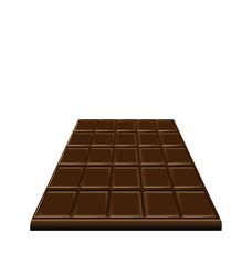 Chocolate bar isolated on white background, sweet dessert