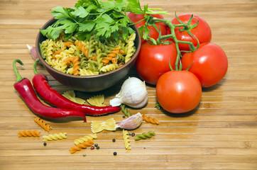 italian pasta and ingredients