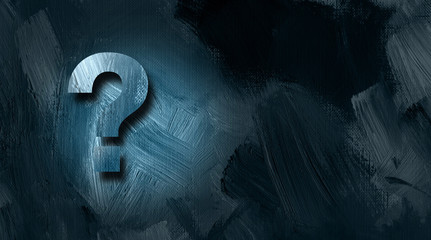 Question mark graphic on textured background
