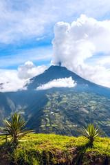 Eruption of a volcano Tungurahua, Cordillera Occidental of the