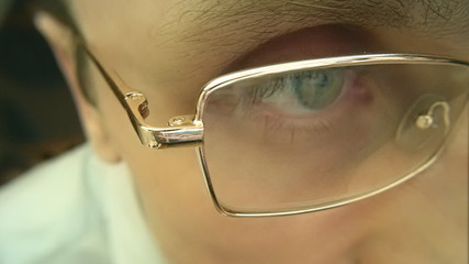 Reflection in the glasses when you surfing the Internet
