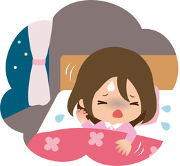 就寝中にうなされる女性