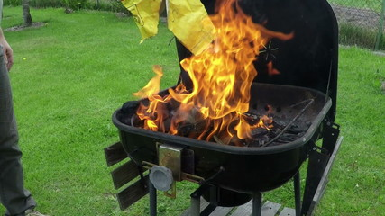 fire in metal grill