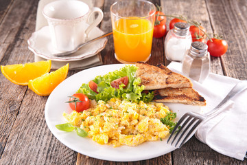 scrambled egg with orange juice and coffee