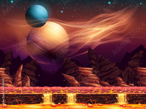 Fototapeta Illustration of a fantastic landscape - the red planets