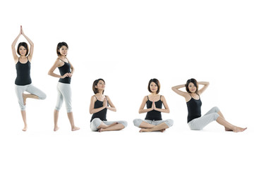 8 full length portraits of Asian woman doing yoga exercise