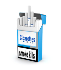 Cigarettes pack 3D illustration isolated over white