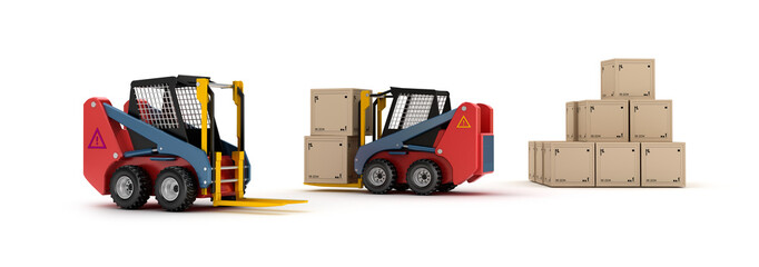 Forklift trucks and goods isolated