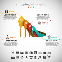 Shopping Infographic made of shoes.