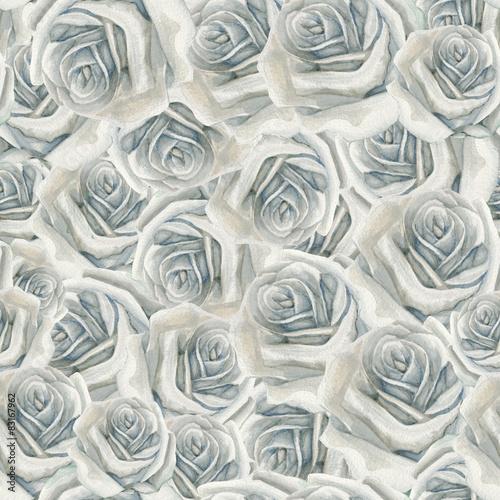 Watercolor white rose pattern © lenavetka87