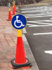 駐車場の車椅子マークの表示