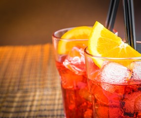 top of view of spritz aperitif aperol cocktail and orange slices