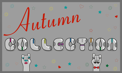 Inscription Autumn Collection. Vector Illustration