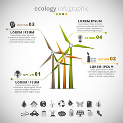 Ecology infographic made of wind turbine.