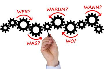 Businessman mit Businessplan Konzept Strategie Analyse mit Frage