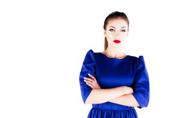 Beautiful girl model in a blue dress